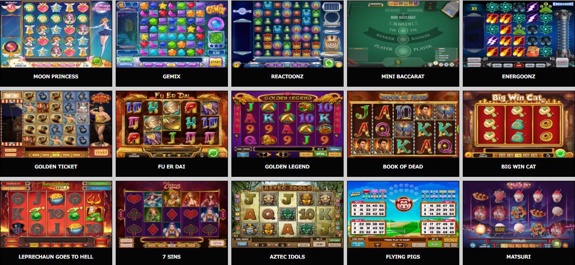人気スロットゲーム選択画面